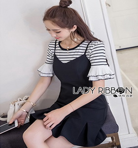 Lady Ribbon Diana Striped Crepe Pleated Dress