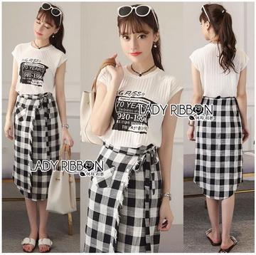 Lady Ribbon Online ขายส่งเสื้อผ้าออนไลน์ เลดี้ริบบอน LR02280716 &#x1F380 Lady Ribbon's Made &#x1F380 Lady Lizzie Street Chic Printed Tank Top and Plaid Shirt Set เซ็ตเสื้อผ้ายืดสี