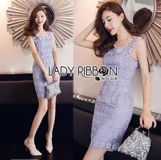 Lady Ribbon Online เสื้อผ้าออนไลน์ขายส่ง lady ribbon เสื้อผ้า LR10150816 &#x1F380 Lady Ribbon's Made &#x1F380 Lady Felicia Sexy Feminine Off-Shoulder Lilac Lace Dress เดรสผ้าลูกไม้