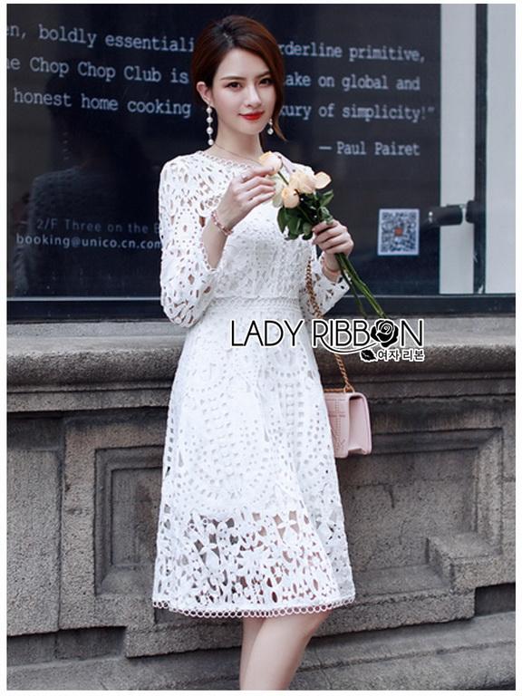 White Lace Dress Lady Ribbon ขายเดรสผ้าลูกไม้