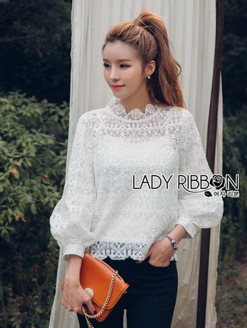 Yves Classic Sweet White Lace Blouse