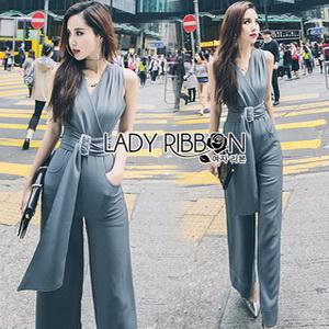 Lady Ribbon Calinda Blue Crepe Jumpsuit