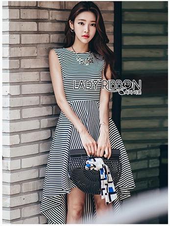 Chic Asymmetric Lady Ribbon Striped Dress
