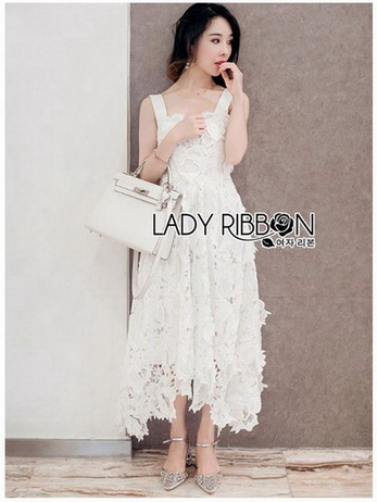 Lady Martina Graceful White Guipure Lace Dress