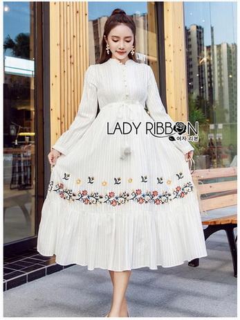 Lady Ribbon White Cotton Maxi Dress