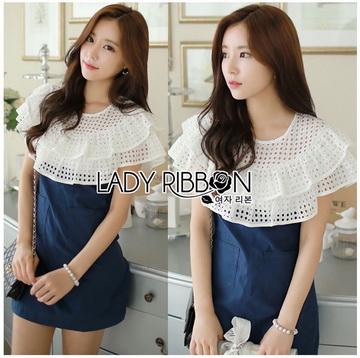 Lady Ribbon Online ขายส่งเสื้อผ้าออนไลน์ ขายส่งของแท้พร้อมส่ง Lady Ribbon LR11250716 &#x1F380 Lady Ribbon's Made &#x1F380 Lady Elena Laser-Cut Ruffle Cotton and Denim Mini Dress