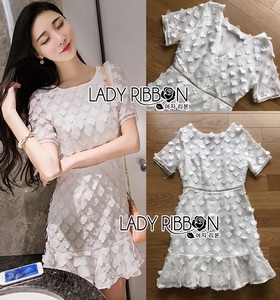Lady Ribbon Pure White Flower Embroidered Peplum Dress