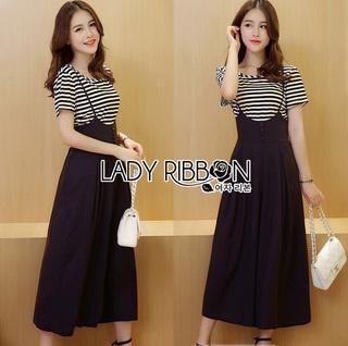 Lady Ribbon Online เสื้อผ้าออนไลน์ขายส่ง lady ribbon เสื้อผ้า LR12150816 &#x1F380 Lady Ribbon's Made &#x1F380 Lady Dani Sweet Minimal Striped Top with Black Overall เซ็ตเสื้อแขนสั้น