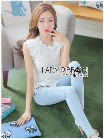 Lady Ribbon Sleeveless Lace Top เสื้อแขนกุดคอสูง