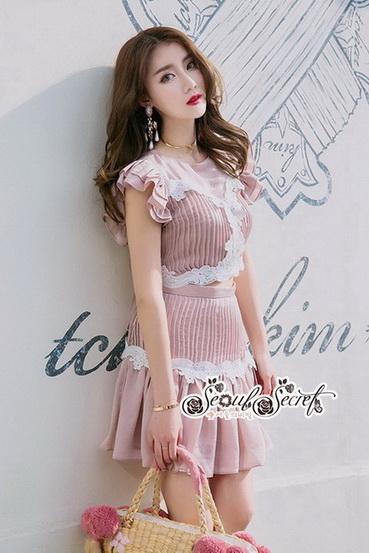 ชุดกระโปรงสวยหวานโทนสีชมพูนู๊ท