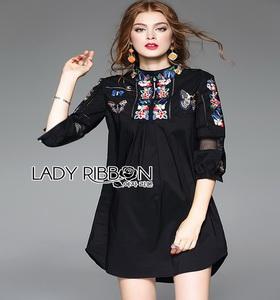 Lady Ribbon Cotton Shirt Dress เชิ้ตเดรสผ้าคอตตอน