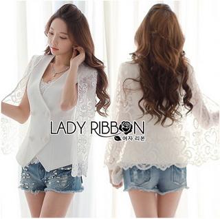 Lady Ribbon Online เสื้อผ้าออนไลน์ขายส่ง Lady Ribbon เสื้อผ้า LR04180816 &#x1F380 Lady Ribbon's Made &#x1F380 Lady Maria Elegant Double-Breast White Lace Jacket แจ๊คเก็ต