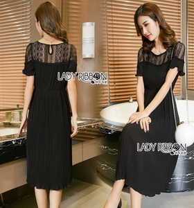 Black Lace Pleated Dress Lady Ribbon