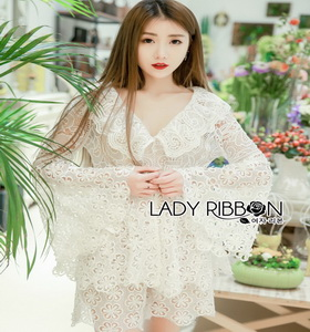 Lady Ribbon Anastasia White Lace and Old-Rose
