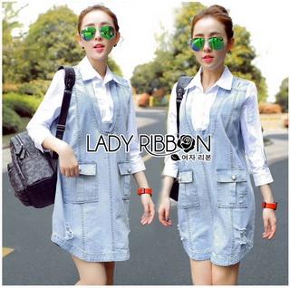 Lady Ribbon Online ขายส่งเสื้อผ้าออนไลน์เลดี้ริบบอน LR18010816 &#x1F380 Lady Ribbon's Made &#x1F380 Lady Lola Minimal Preppy Denim and Cotton Shirt Dress