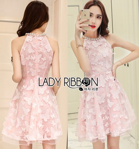 Lady Ribbon Pearl Embellished Pink Dress