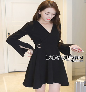 Lady ribbon Black Dress with Metal Ring