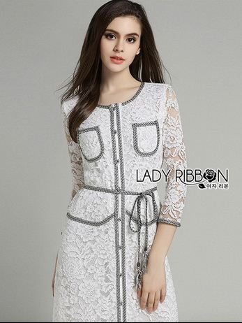 Lady Leslie Smart Lace Dress with Ribbon