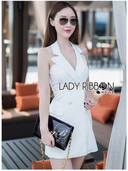 Suit Dress Lady Ribbon สูทเดรสสีขาว