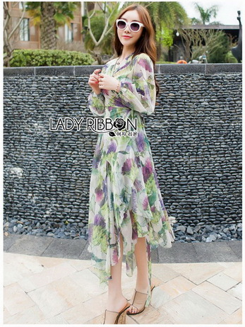 Lady Fiona Artsy Paint Printed Silk Wrap Dress