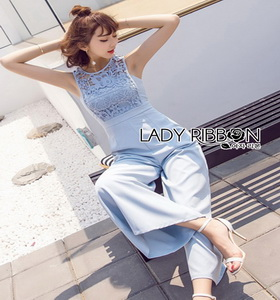 Lady Ribbon Baby Blue Lace and Crepe Jumpsuit