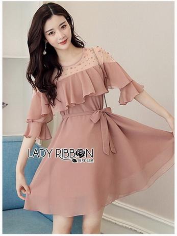 Lady Ribbon Chiffon Dress เดรสผ้าชีฟอง