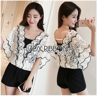 LR09290816 &#x1F380 Lady Ribbon's Made &#x1F380 Lady Vanessa Vintage Scallop Lace Blouse เ