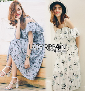 Floral Printed Plated Strappy Dress Lady Ribbon เดรสสายเดี่ยว