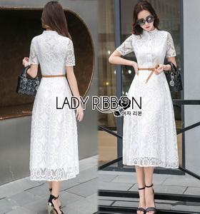 ady Ribbon Lady Leslie ModerMaxi Dress เชิ้ตเดรส สไตล์โมเดิร์นเฟมินีน