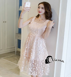 Pink Floral Line Dress เดรสชมพู