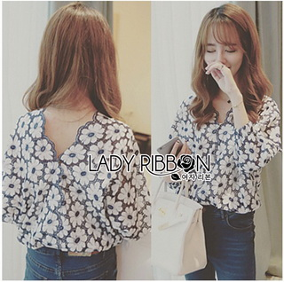 Lady Ribbon Online เสื้อผ้าออนไลน์ขายส่ง Lady Ribbon เสื้อผ้า LR11180816 &#x1F380 Lady Ribbon's Made &#x1F380 Lady Rosie Feminine Flower Embroidered and Laser-Cut Cotton Blous
