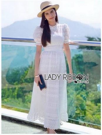 Lady Camilla Vintage Style White Cotton Dress