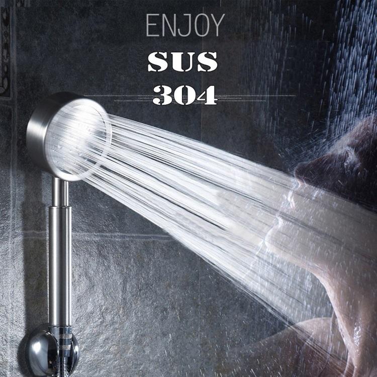 ฝักบัวสแตนเลส SUS 304 ฝักบัวเพิ่มแรงดันน้ำ ฝักบัวเทอร์โบ (เกรด A)