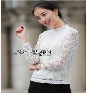 Lady Ribbon With Lace Blouse ผ้าลูกไม้แขนยาวสีขาว