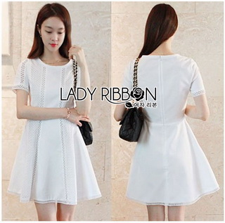 Lady Ribbon Online ขายส่งเสื้อผ้าออนไลน์เลดี้ริบบอน LR13010816 &#x1F380 Lady Ribbon's Made &#x1F380 Lady Diana Feminine Pure White Lace and Polyester Dress เดรสผ้าโพลี