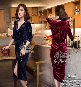 Lovely Beauty Dress เดรสสั้นแฟชั่น เนื้อผ้าเกาหลีกำมะหยี่
