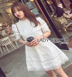 Lady Ribbon Cotton Embroidered Dress