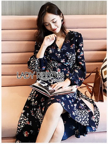 Lady Monica Floral Patterned Printed Wrap Dress