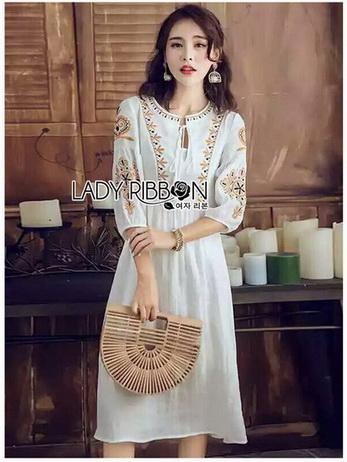 Bohemian Embroidered Lady Ribbon Cotton Dress