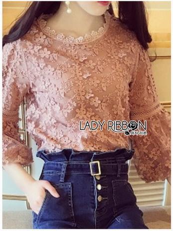 Chic Flower Lace Blouse เสื้อแขนยาว
