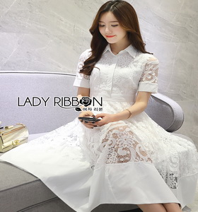Lady Ribbon White Lace Midi Shirt Dress