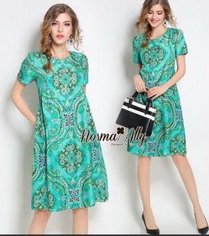 Lady Ribbon Online ขายส่งเสื้อผ้าแฟชั่นออนไลน์ เสื้อผ้า Normal Ally NA14080816 &#x1F389Normal Ally Present flower asian print boutique dress&#x1F389