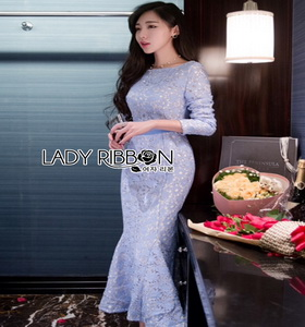Lady Ribbon Mermaid Lace Dress