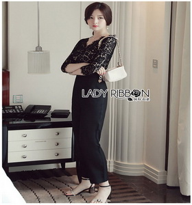 Lady Daphne Sleek Black Lace Jumpsuit จัมป์สูทสีดำ