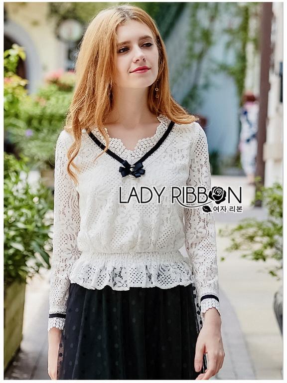 White Lace Blouse Lady Ribbon ขายผ้าลูกไม้ขาว