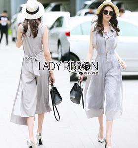 Lady RibbonYulia Minimal Chic Grey Organza Jumpsuit
