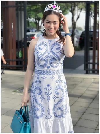 Lady Chloe Casual Printed Dress เดรสยาวแขนกุด
