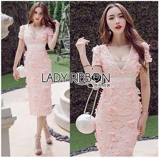 Lady Ribbon Online เสื้อผ้าออนไลน์ขายส่ง Lady Ribbon เสื้อผ้า LR05180816 &#x1F380 Lady Ribbon's Made &#x1F380 Lady Gabriella Sexy Feminine Flower Embroidered Pinky Dress