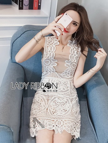 Lady Anna Feminine Sexy White Lace Dress