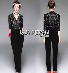 Lady Ribbon Black Lace Jumpsuit จัมป์สูทขายาว
